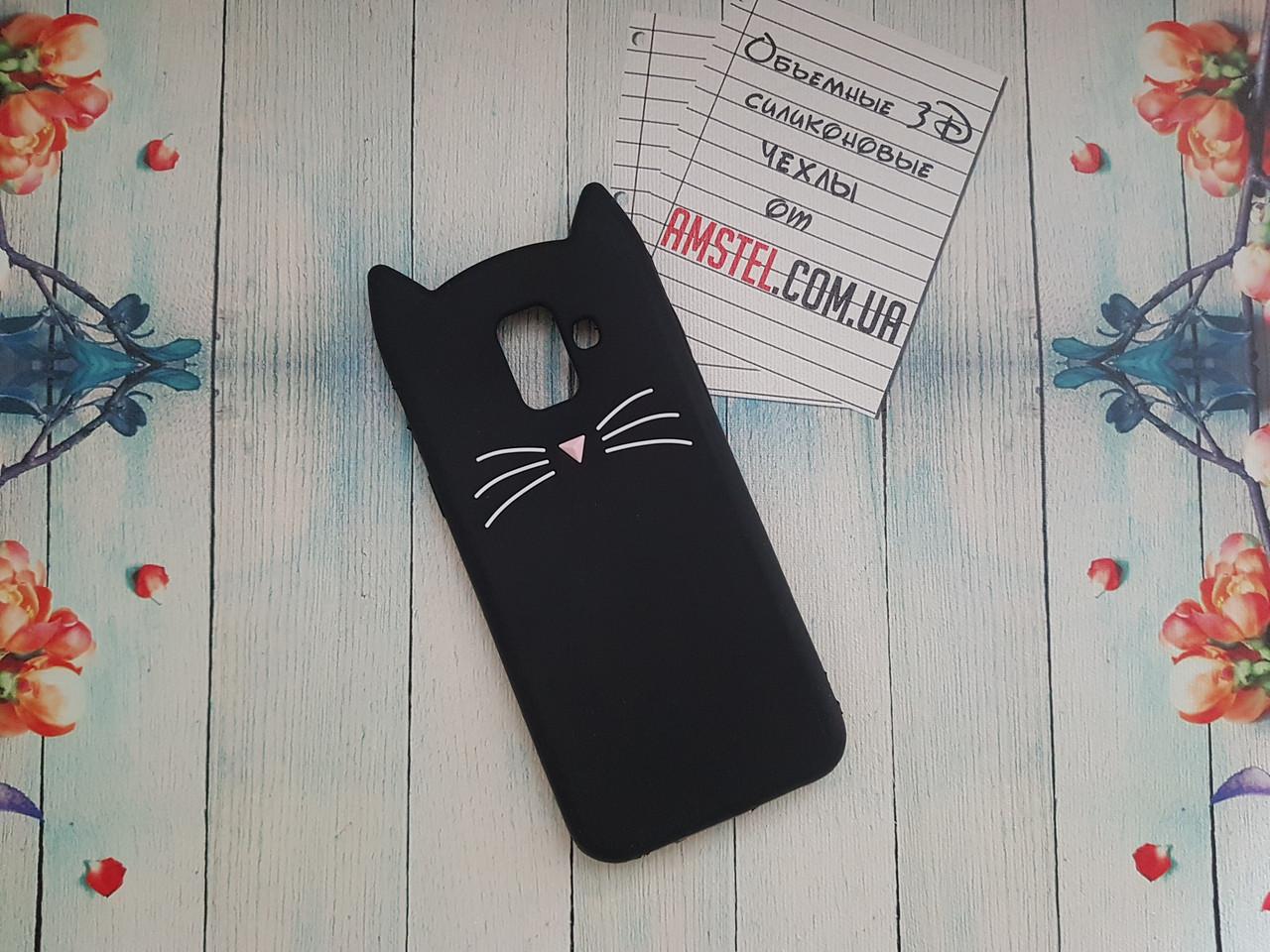 Об'ємний 3D силіконовий чохол для Samsung A6 2018 Galaxy A600f Чорний вусатий кіт