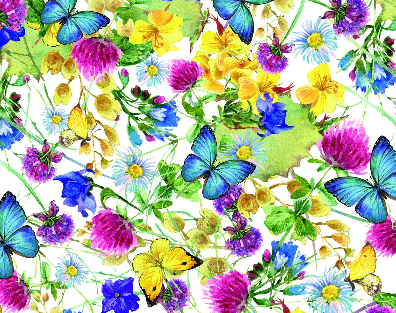 """Подарочная бумага для упаковки """"Цветы и бабочки"""", 5 шт/уп ..."""