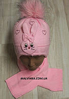 Шапка и шарф на девочку Польша арт 165 розовый.