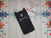 Объемный 3D силиконовый чехол для Samsung Galaxy J4 2018 J400 Черный усатый кот