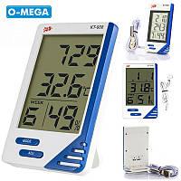 Гигрометр КТ-908 термометр часы будильник, фото 1