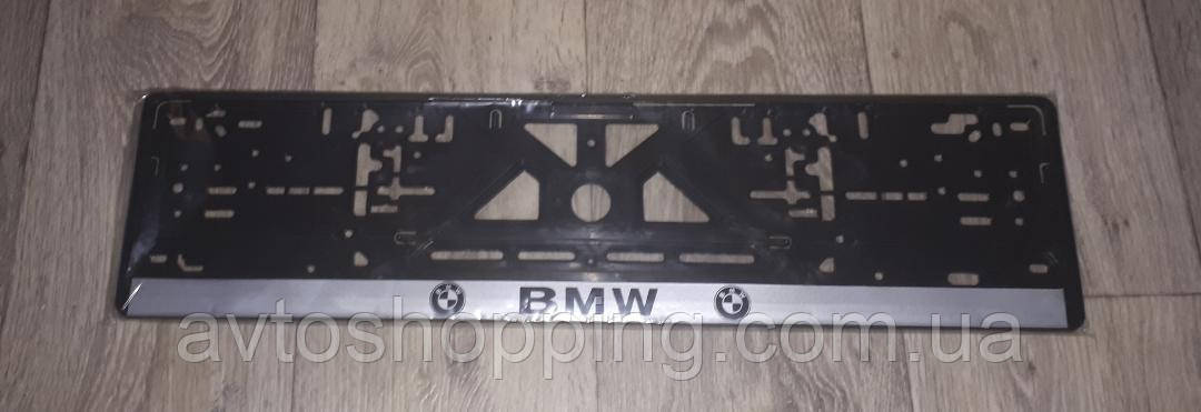 Рамка под номер с надписью БМВ BMW, Рамка Черная, рамка для номера