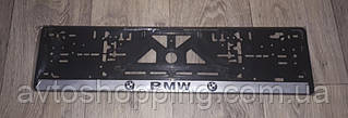 Рамка під номер з написом BMW БМВ, Чорна Рамка, рамка для номера