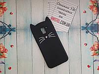 Объемный 3D силиконовый чехол для Samsung Galaxy J6 2018 J600F Черный усатый кот