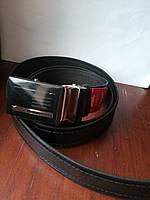 Черный кожаный ремень автомат 140 см