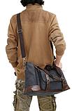 Велика чоловіча сумка коричнева мішковина, фото 5