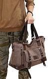 Велика чоловіча сумка коричнева мішковина, фото 2