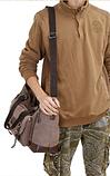 Велика чоловіча сумка коричнева мішковина, фото 3