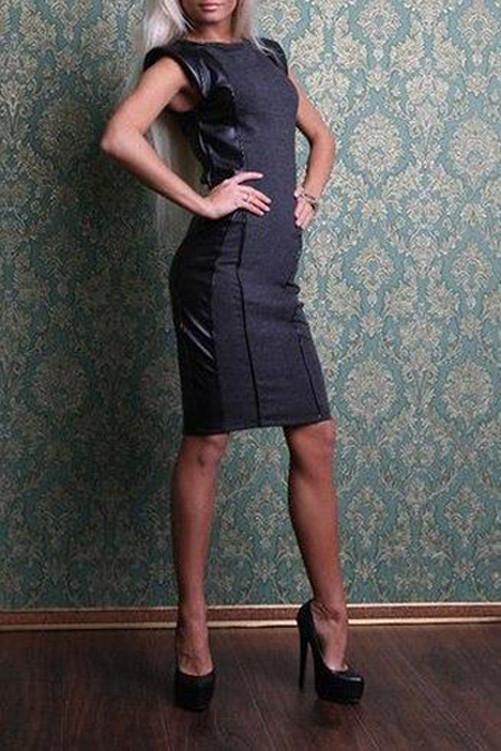 408ad3c2744 Стильное платье - футляр с кожаными вставками