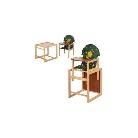 """Стульчик для кормления """"Цыпленок"""", трансформер, ремни безопасности, большая спинка зеленая, дерево, МV-010-22-7"""