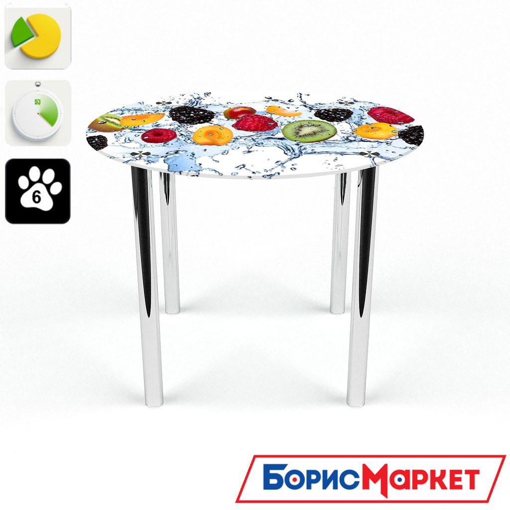 Обеденный стол стеклянный (фотопечать) Круглый Berry Mix от БЦ-Стол
