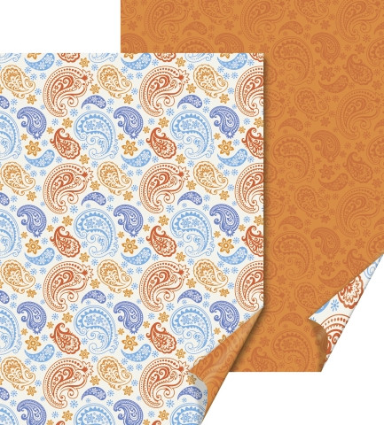 Бумага с рисунком Heyda Пейсли двусторонняя Красно-голубая 21x31 см 200г/м2 4005329133473