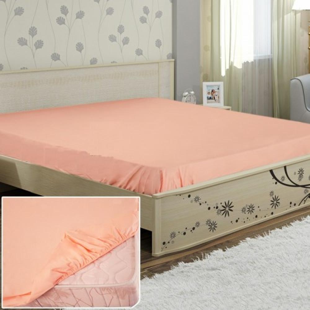 Простынь на резинке  Персик , поплин (90*200*25см) Комфорт-текстиль