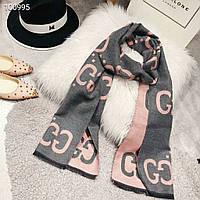 Теплый шарф Gucci (Гуччи) серо-розовый