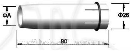 Сопло газовое BW 145.0046, цилиндрическое 21/26/90 мм для сварочной горелки с воздушным охлаждением BW 40KD
