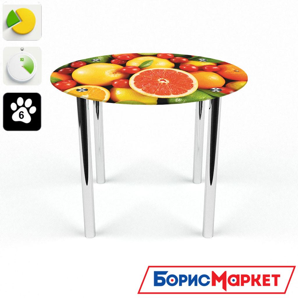 Обеденный стол стеклянный (фотопечать) Круглый Fruit от БЦ-Стол