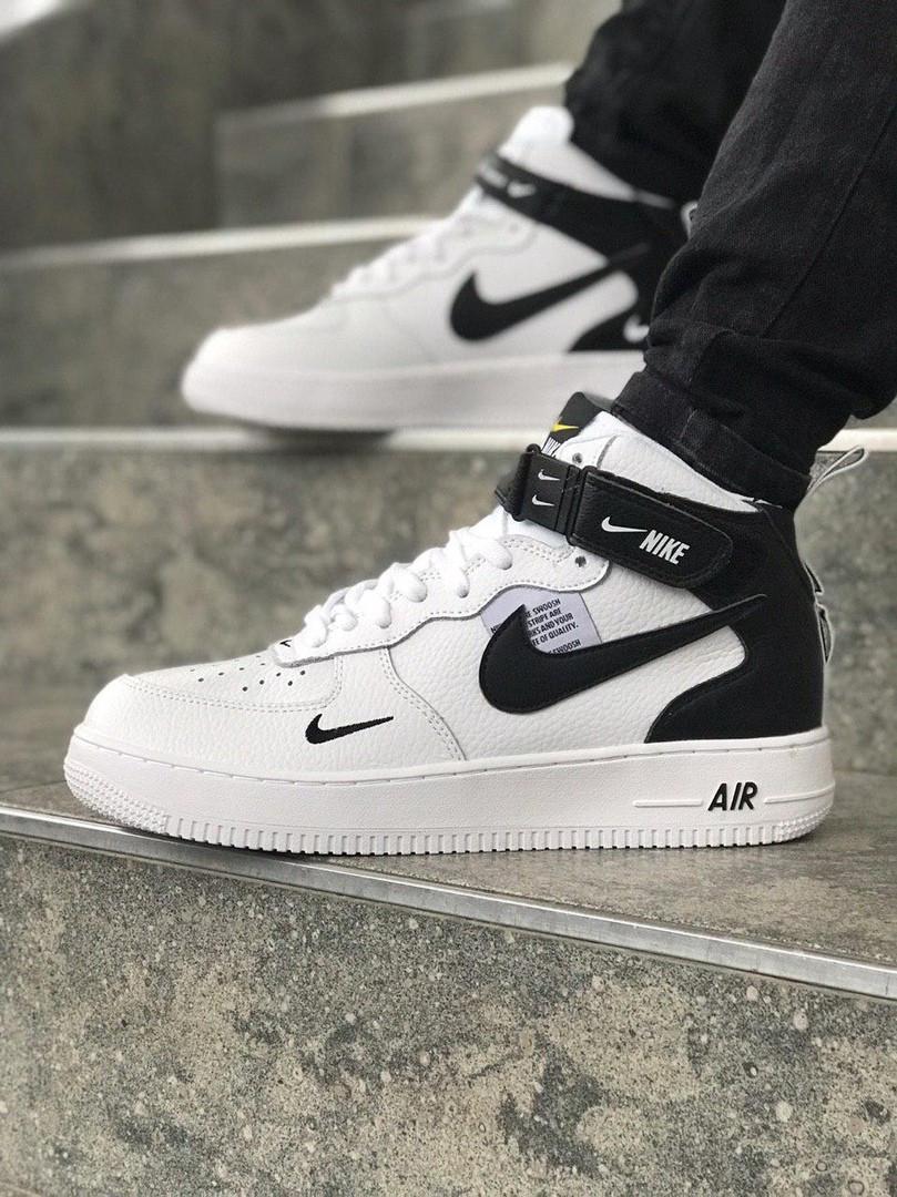 fd64432d Мужские кроссовки в стиле Nike Air Force high (white/black), Реплика ААА