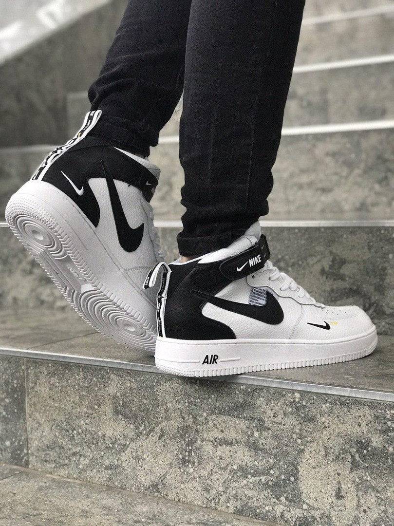 ... Мужские кроссовки Nike Air Force high (white black), мужские Nike air  force ... b9d76db9c14