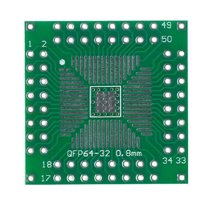 Макетная плата переходник QFP64-32 0,8mm/QFP64 0.5mm. 1 шт