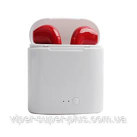 Беспроводные Блютуз наушники HBQ I7s TWS (Красные) Bluetooth с кейсом Копия-аналог, реплика AirPod Apple