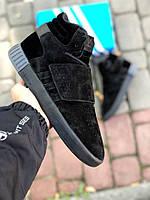 Мужские зимние ботинки AdidasTubular Invader синие (ТОП реплика), фото 1