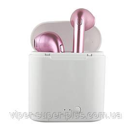 Беспроводные Блютуз наушники HBQ I7s TWS (Розовые) Bluetooth с кейсом Копия-аналог, реплика AirPod Apple
