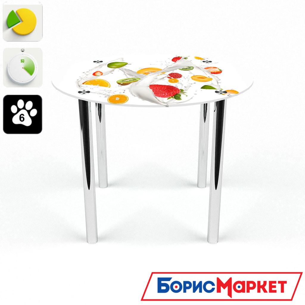 Обеденный стол стеклянный (фотопечать) Круглый Milkshake от БЦ-Стол