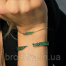 Брендовый браслет цепочка зеленый крокодил бижутерия, фото 3