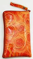 Чехол для телефона на змейке маленький лаковый оранжевый, фото 1