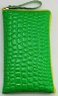 Чехол для телефона на змейке маленький лаковый зелёный, фото 1