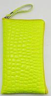 Чехол для телефона на змейке маленький лаковый жёлтый, фото 1