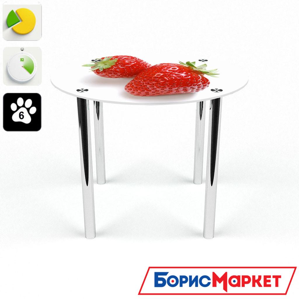 Обеденный стол стеклянный (фотопечать) Круглый Red berry от БЦ-Стол