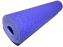 Коврик для йоги 1830×610×6мм, двухслойный, голубой