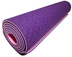 Коврик для йоги 1830×610×6мм, двухслойный, фиолетовый
