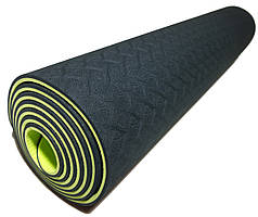 Коврик для йоги 1830×610×6мм, двухслойный, черный