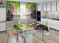 """ФотоШторы для кухни """"Бамбук и малиновые орхидеи на камнях"""" 2,0м*2,9м (2 половинки по 1,45м), тесьма, фото 1"""