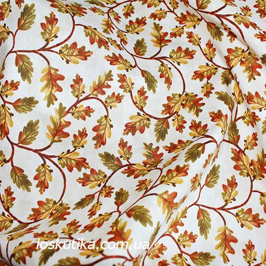 29039 Дубовый лист. Материалы для творчества, кукол и пэчворка. Ткань с листочками.