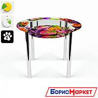 Обеденный стол стеклянный (фотопечать) Круглый с полкой Flowers от БЦ-Стол