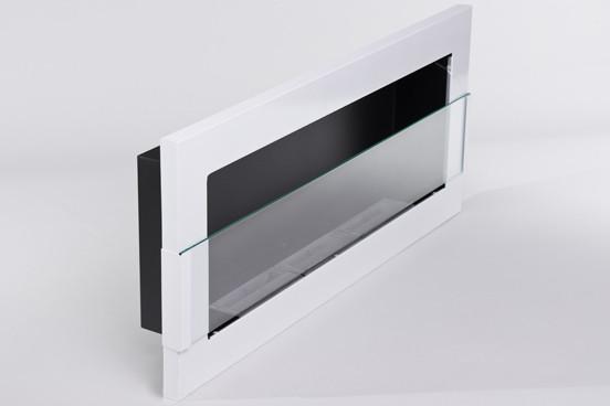 Биокамин Nice-House 90x40 см, с стеклом, белый, полный комплект