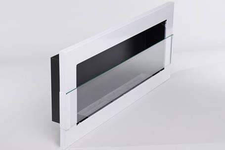 Биокамин Nice-House 90x40 см, с стеклом, белый, полный комплект, фото 2