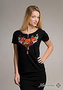 Чорна жіноча вишита футболка Диво маки вышиванка шара, размеры XS, S, M, L