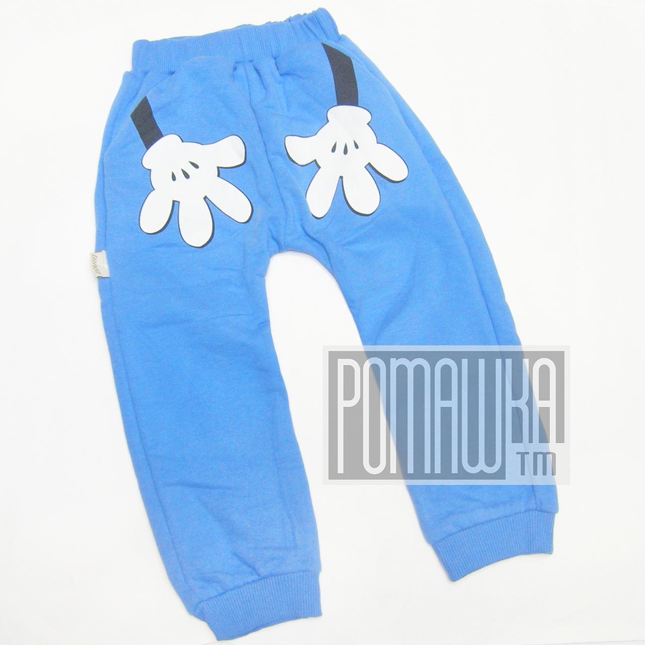 Дитячі спортивні штани для хлопчика р. 98-104 з щільним начосом тканина ФУТЕР ТРЕХНИТКА 4319 Синій