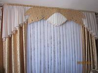 Ламбрекен со шторами и декоративным жёстким элементом №113