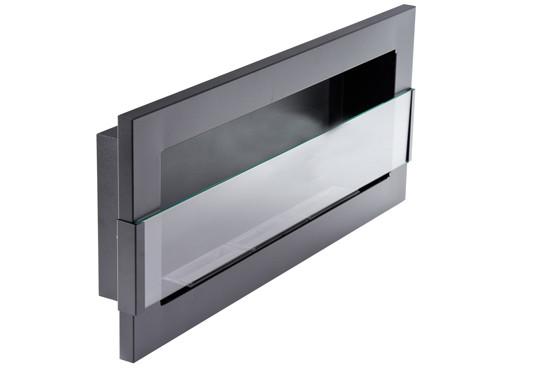 Биокамин Nice-House 90x40 см, с стеклом, черный, полный комплект