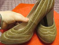 Туфли замша бежевые удобные стильные 37р, фото 1