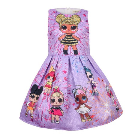 Платье детское на девочку ЛОЛ  фиолетовое на 3 года