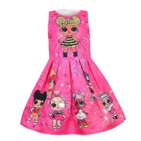 Платье детское на девочку ЛОЛ  малиновое на 3 года