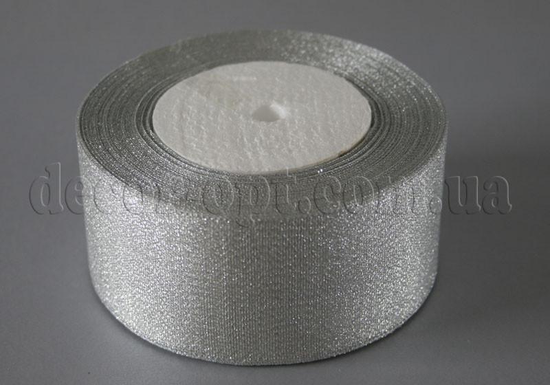 Лента парча серебро 4 см 25ярд