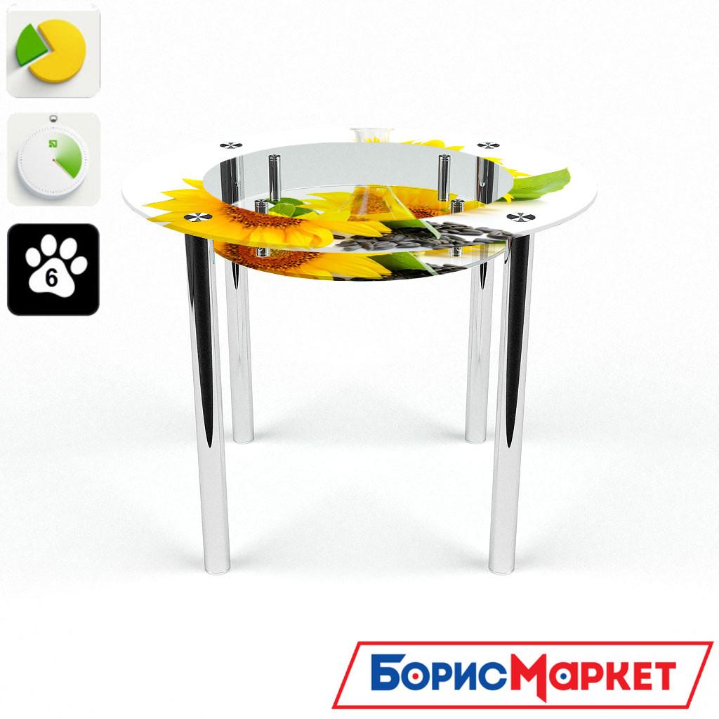 Обеденный стол стеклянный (фотопечать) Круглый с полкой Sunflower от БЦ-Стол