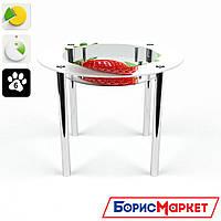 Обеденный стол стеклянный (фотопечать) Круглый с полкой Sweet berry от БЦ-Стол